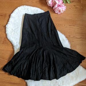 Vintage black suede godet midi skirt